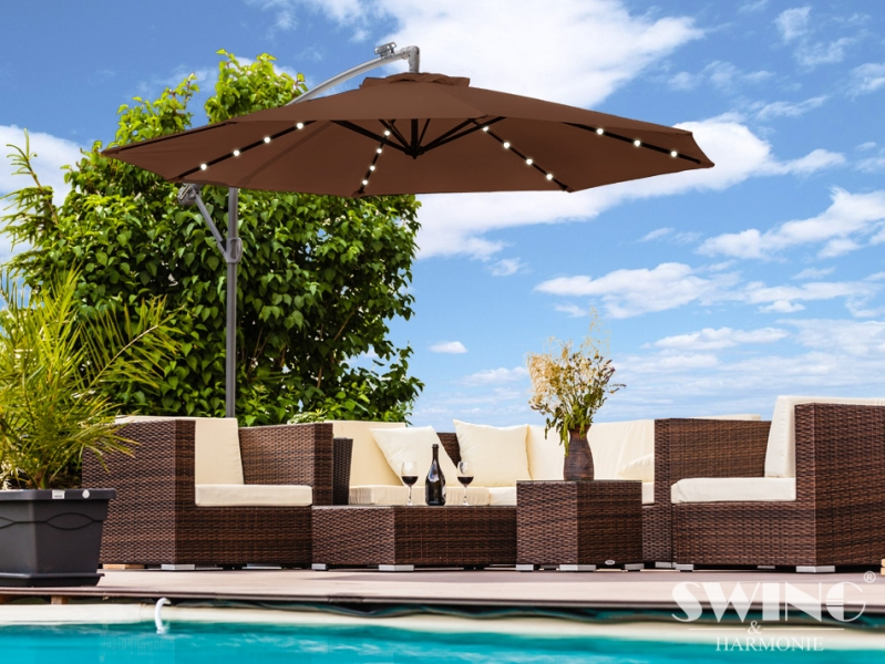 luxus sonnenschirm mit led beleuchtung ampelschirm. Black Bedroom Furniture Sets. Home Design Ideas
