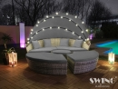 Polyrattan LED-Sonneninsel Lounge - XL-180cm - Grau