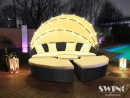 LED-Sonneninsel Lounge Polyrattan  XL-180cm Schwarz