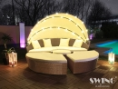 LED-Sonneninsel Lounge Polyrattan XL-180cm Braun